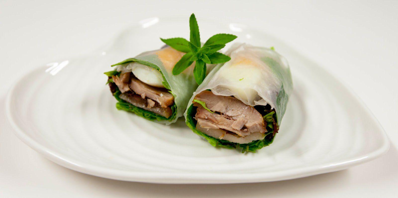Vietnamese Caramelised Pork Amp Egg Rice Paper Rolls