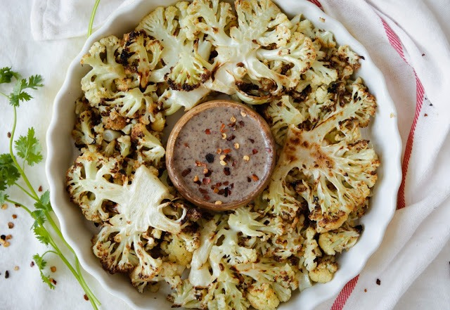 Roasted Cauliflower with Spicy Tahini Dip