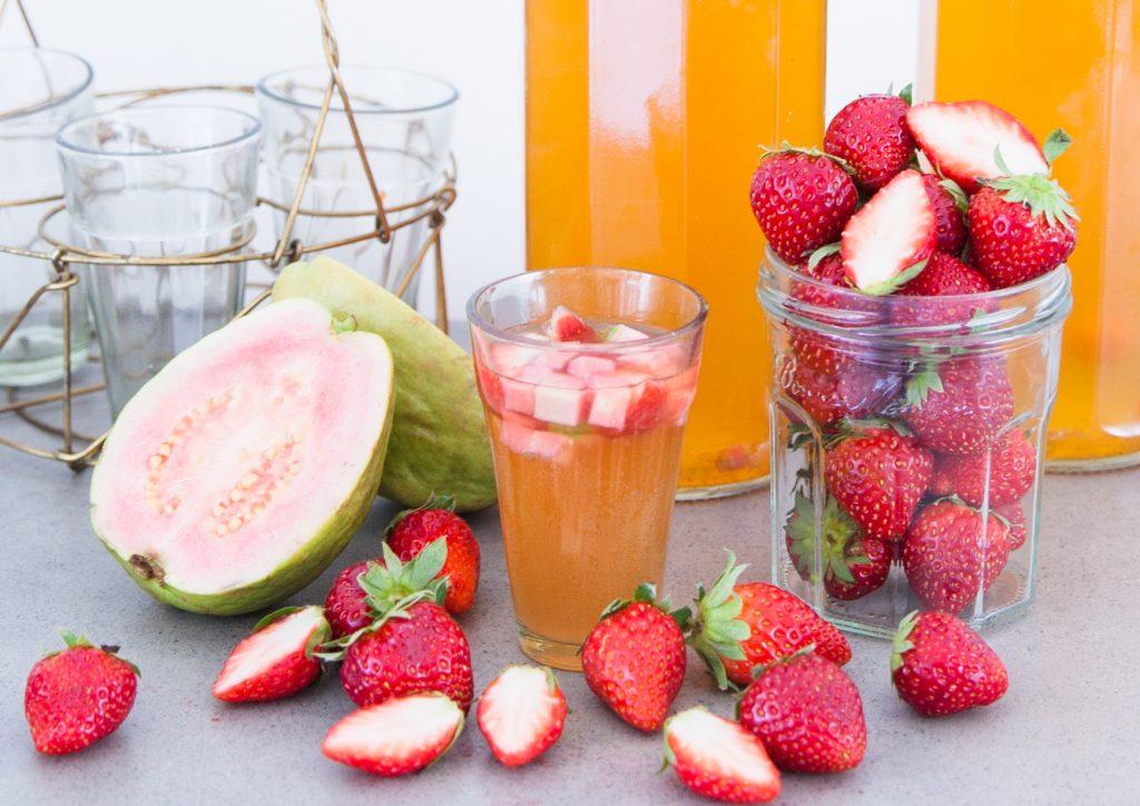 Strawberry and Pink Guava Kombucha Tea